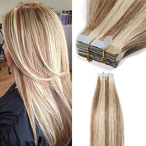 Extension capelli adesive veri remy human hair 40 fasce con biadesivo lunghi lisci umani 100g tape extension 2.5grammi/ciocca 45cm, 12 marrone chiaro mix #613 biondo