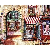 AIWOSUOAI Malen Nach Zahlen Leinwand Gemälde Wandkunst Wandbilder für Wohnzimmer Poster Bild Kunst Fahrräder Durch den Bogen 40X50 cm, Gerahmt