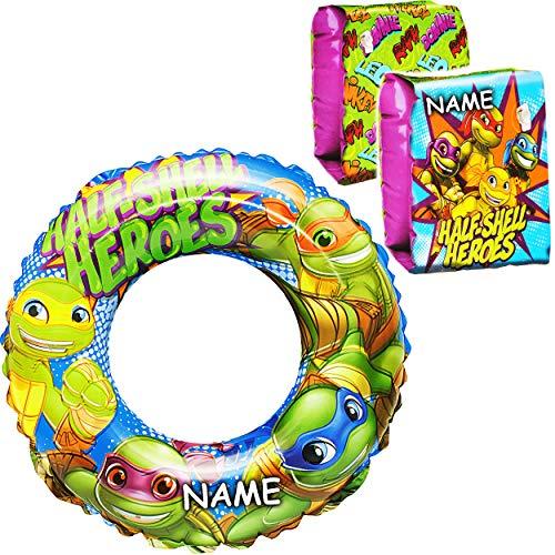 alles-meine.de GmbH Set _ Schwimmflügel & Schwimmring - aufblasbar -  Teenage Mutant Ninja Turtles  - inkl. Name - 2 bis 6 Jahre - Schwimmärmel & Schwimmhilfe - für Jungen - Ki.. (Ninja Teenage Turtles Mutant Kleinkind)