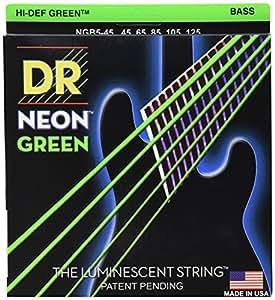 DR Strings NEON 45-125  Jeu de Cordes pour Guitare Basse Vert