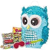 PINATA-SET: Pinata Süße Eule + Schläger + Maske + Trolli Süßigkeiten-Füllung + Konfetti - PARTYMARTY GMBH®