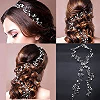 Veewon - Diadema vintage para novia con perlas de cristal, accesorio para el pelo, decoración de bodas