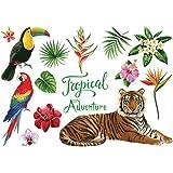 1set Auto-adhésif Tropical mureaux Cartoon Tiger Parrot Wall Sticker Bricolage Art Stickers Mural pour Chambre d'enfants Auto