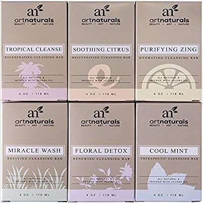 Art Naturals® 6 Piece Soap Bar Set 4 oz. Each | 100% Natural & Infused with Jojoba Oil - Best for all Skin Types, Body & Face, Men & Women (Tea tree, Lavender, Eucalyptus, Lemon, Grapefruit & Orange) from ArtNaturals