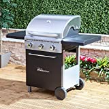 Fire Mountain McKinley 3 Burner Gas Barbecue in Stainless Steel and Black with Free Gas Regulator and Hose