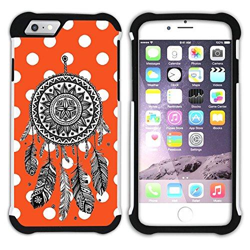 Graphic4You Traumfänger Punktmuster Tupfen Muster (Gelb) Hart + Weiche Kratzfeste Hülle Case Schale Tasche Schutzhülle für Apple iPhone 6 Plus / 6S Plus Orange