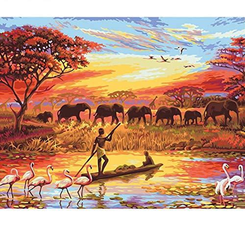 Puzzle 3D Puzzle 1000 Piezas Paisaje De Pescadores Y Elefantes Diy Arte...