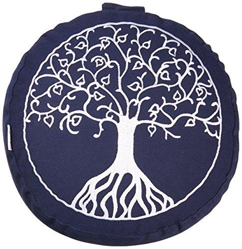 maylow - Yoga mit Herz Meditationskissen -  Yogakissen mit Stickerei Baum des Lebens (blau)