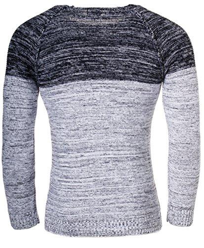 Carisma Herren Strickpullover melange Kontrast vintage Look tiefer breiter Rundhals Ausschnitt Slimfit Strick Pullover Sweatshirt Knit 7359 Dunkelblau