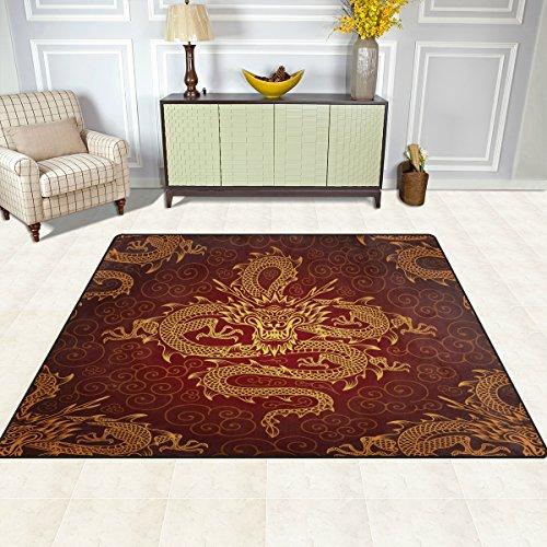 DOSHINE Bereich Teppiche Matte Teppich 4'X5', Chinesischer Drache Tier-Muster Polyester rutschfest Wohnzimmer Esszimmer Schlafzimmer Teppich Eingang Fußmatte Home Decor, multi, 5'x7' (Teppich Chinesische)