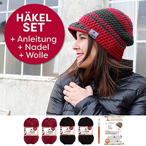 Myboshi Häkel-Set Schirm-Mütze Saitama mit 4x 50g myboshi Wolle No.1 + Häkel-Anleitung + Häkelnadel + selfmade Label in Farben (Bordeaux, Schwarz)