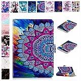 E-Mandala Universal 10 Zoll Hülle Etui Flip Case Leder Wallet Cover Tablet PC Tasche mit Kartenfach Klapphülle Ledertasche Lederhülle - Mandala Blumen