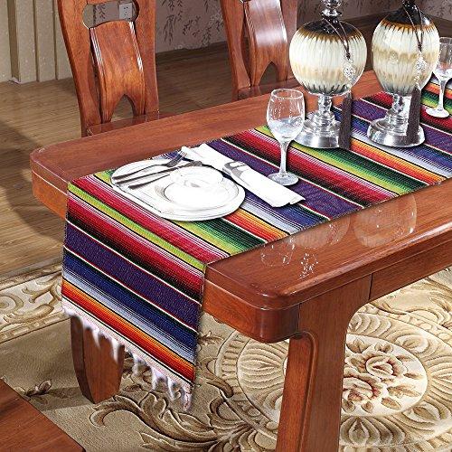 GuangmingXi 14 x 84 inch Mexikanischer Serape-Tischläufer für Mexikanische Party-Hochzeitsdekorationen, Fringe Baumwolle Tischläufer (Violett)