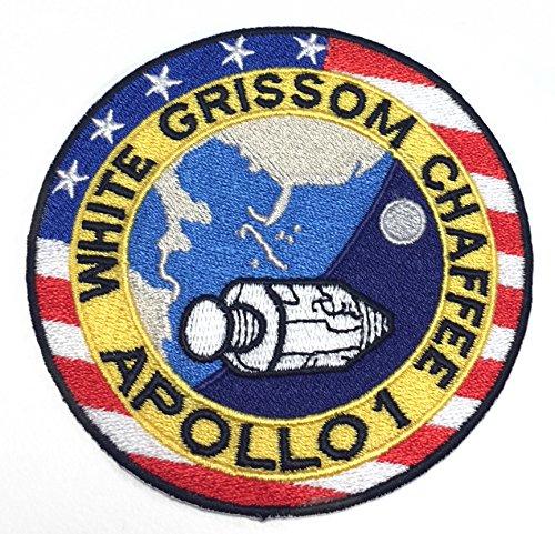 Apollo Raumanzug Kostüm - NASA Apollo 1Patch (8,9cm) Bestickt Eisen Nähen auf Badge Aufnäher Astronaut Raumanzug Programm Souvenir DIY Kostüm