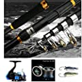 BNTTEAM 2.1M Fishing Rod + Fishing Reel + Fishing Lure + Fishing Line Fishing Combo Set Lake /Boat Fishing Designed for Beginners and All-rounder by BNTTEAM