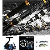 BNTTEAM 2.1M canne à pêche + canne à pêche + leurre de pêche + ligne de pêche Ensemble pêche combinée pêche au lac / bateau