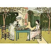 Vintage giocattoli, nursery e Fairytales The Tea Party by Kate Greenaway 250gsm lucido arte della riproduzione A3poster