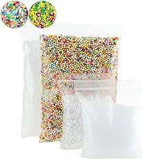 4 Pack Slime Beads Supplies - Fishbowl Beads Fish Bowl Vase Filler 3.5oz - Clear Slushie Beads 3.5oz - Colorful Styrofoam Foam Balls Mini 0.1-0.18inch(30000pcs) Bonus Fruit Splice, Glitter Sequins