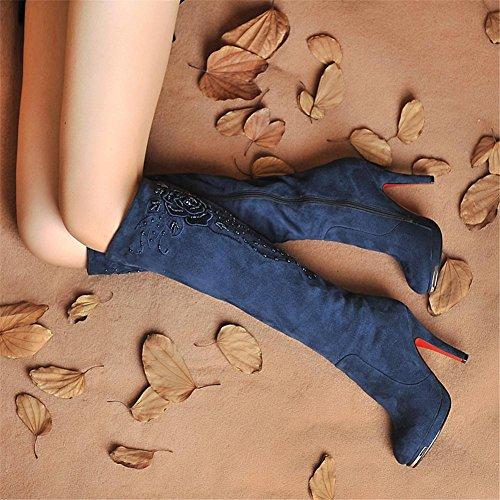Donna Al di sopra Ginocchio Coscia Stivali Sexy scamosciato Tacco Stiletto Testa rotonda Marrone scuro Fatto a mano in rilievo ricamato Autunno inverno Lavoro partito Blue