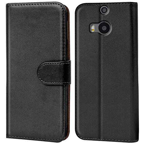 Verco One M8 Hülle, Handyhülle für HTC One M8 Tasche PU Leder Flip Case Brieftasche - Schwarz