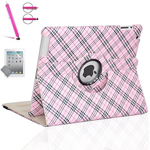 ZEOX ZX-ROTIP2-PL014 Tablet-Schutzhülle, iPad 2,iPad 3,iPad 4, Z-Plaid Elegant Pink - Elegante Plaid