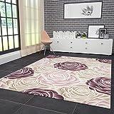 VIMODA Designer Teppich Modern Hoch Tief Effekt mit Glitzer Rosen Muster in Rosa Pink Creme Naturfreundlich 120x170 cm