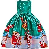 Beikoard Kleinkind Kinder Baby Mädchen Santa Print Prinzessin Kleid Weihnachten Outfits Weihnachtsmann Schneemann Party Abendkleid Brautjungfer Kleider