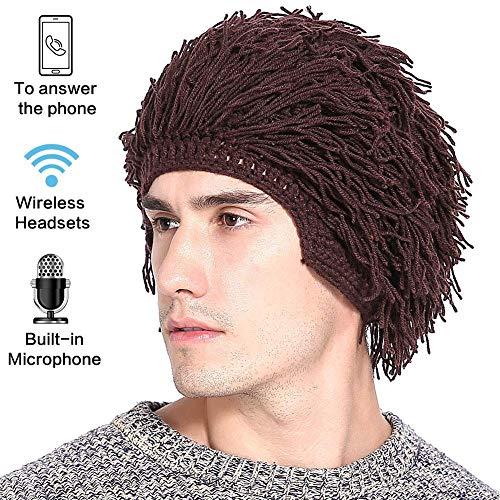 JAYE Bluetooth Headset Hat Männer Frauen Bluetooth Strick Bärtige Hüte Handgemachte Wig Winter Warme Ski-Maske ()