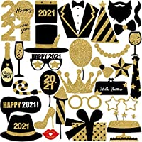 AIYANG 2021 New Year's Party Photo Booth Props Black Gold Fireworks Hats Lips Beard Crown Camera Posing Props New Year Eve Birthday Wedding Party Decoration Favors (C)