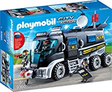 SEK-Truck mit Licht und Sound mit abnehmbarem Dach und Platz für bis zu 4 Figuren. Das Licht- und Soundmodul benötigt eine 1,5-V-Micro-Batterie (nicht enthalten).