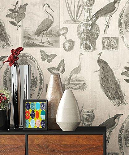 NEWROOM Tapete Creme Vögel Schmetterlinge Vintage Papiertapete Schwarz Papier moderne Design Optik Tapete Landhaus inkl. Tapezier Ratgeber (Creme Schwarz Tapete Und)