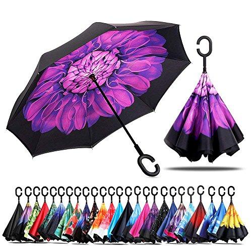 Paraguas a prueba de viento y protector solar a prueba de lluvia Paraguas reversible Paraguas con parachoques invertido con mango en forma de C (Violeta)