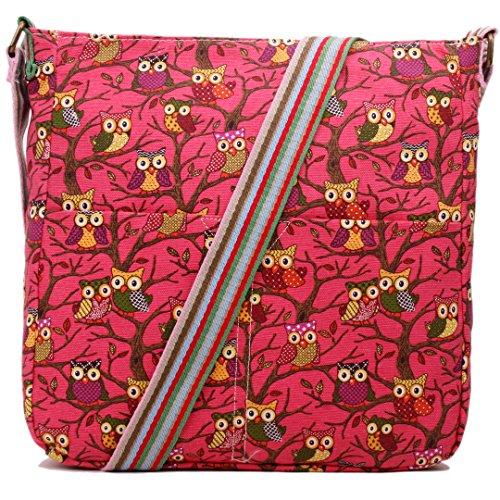 Miss Lulu Damen Leinwand Tasche Schultertasche Cross Body Messenger Bag Tupfendruck Elefant Katzen Eule Blumen Gepunktet Schmetterling Schulranzen Satchel Eule Dunkelrosa
