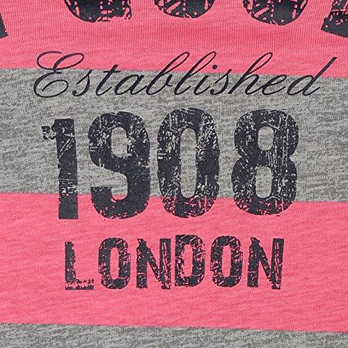 Lee Cooper Femme Texture Stripe T-Shirt Tee Top Haut Col Rond Manche Courte Gris Fonce /Rose