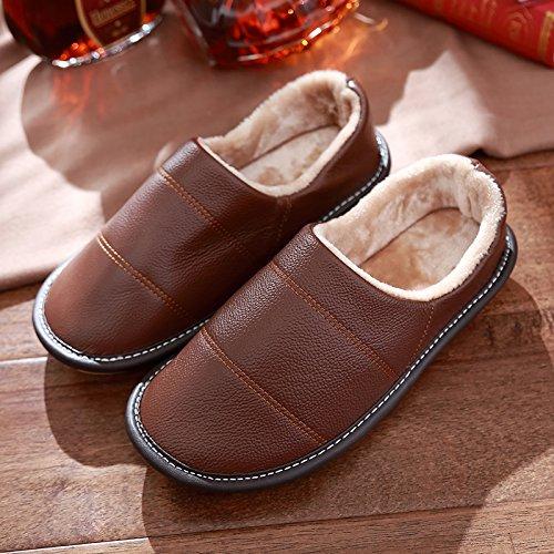 DogHaccd pantofole,Il pacchetto con cotone pantofole coppia femminile spesso scarpe invernali home interno anti-slip maschile di inverno Brown1