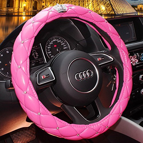 Fangfei Car Steering Wheel Cover for Girls & Women - Cute and Pink, natural Latex Non-toxic and odorless Safe Driving (pink - Diamonds) by fangfei - Girls Womens Natural