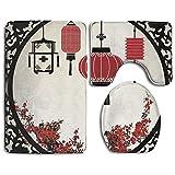 RedBeans Asiatischen Laternen mit Japanischen Sakura Cherry Blossom Bäume und Rund Kunstvoller Figur Graphic Badezimmer Teppich 3-Teiliges Badematten-Set Contour Teppich und Deckel