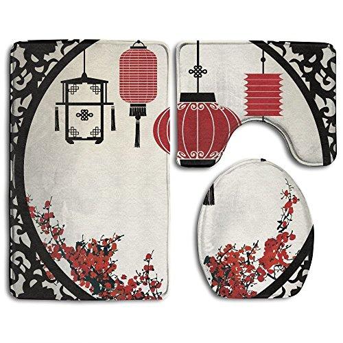 Laternen mit Japanischen Sakura Cherry Blossom Bäume und Rund Kunstvoller Figur Graphic Badezimmer Teppich 3-Teiliges Badematten-Set Contour Teppich und Deckel ()