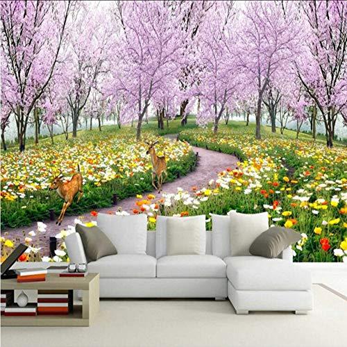 Preisvergleich Produktbild Xbwy 3D Wandbild Tapete Naturlandschaft Schöne Blumen Wand Papier Pfirsichblüte Großes Wandbild Wohnzimmer Tv Wand Wohnkultur-250X175Cm