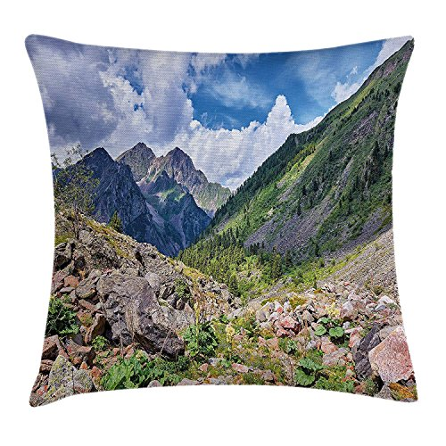 Landscape Throw Pillow Cushion Cover, Mountains Wild Rhubarb Natural View Eastern Siberia Scenic Scenery Cloudy Sky, Decorative Square Accent Pillow Case, 18 X 18 Inches, Multicolor