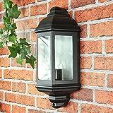 Rustikale Wandleuchte in schwarz 230V Wandlampe aus Aluminium & Glas für Garten/Terrasse Garten Weg Terrasse Lampe Leuchten außen