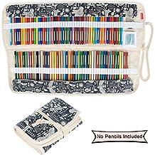 Damero impresiones de lienzo de 100 lápices de colores, lápiz de la caja del sostenedor del rodillo bolsa multiusos para la Oficina de la Escuela, Arte, Artesanía, lápiz bolsa de viaje, Animal World(lápices no incluidas)