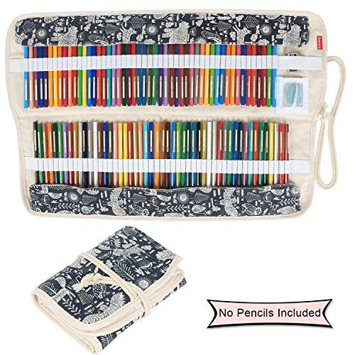 Damero Faltbare Stifterolle für 100 Buntstifte und Bleistifte, aus Canvas, Roll-up Mäppchen für Künstler, Verpackung Mehrzwecktasche für Reisen / Schule / Büro / Kunst (keine Schreibzeuge im Lieferumfang), Animal World (keine Schreibzeuge im Lieferumfang)