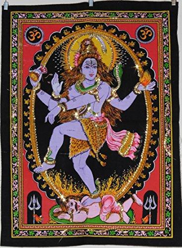 Pailletten Baumwolle Bild Hindu Gott Natraj Tanzende Shiva Wandbehang–43x 55cm (Shiva-bild)