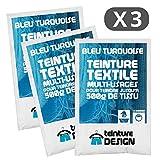 3Stück Beutel Färbetechniken Textil–Blau Türkis–Beizen Universal für Kleidung und natürliche