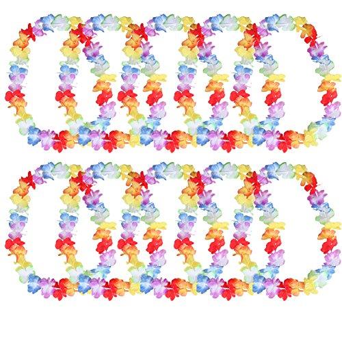 (Toruiwa 10x Kranz Colorful Künstliche Blumen Kranz Hawaii Hula Girlande für Hochzeit Party Festival Reise Kleidung Dekoration Zubehör, Polyester-Stoff, B, 100 cm)