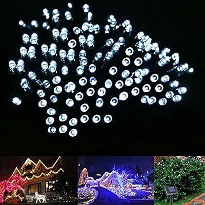 LE LED Solar Lichterkette Solarlichterkette, 17 Meter, Wasserdicht, 100 LEDs, 1,2V, Tageslichtweiß, tragbar, mit Lichtsensor, Außenlichterkette, Weihnachtsbeleuchtung, Beleuchtung für Hochzeit, Party von Lighting EVER - Lampenhans.de