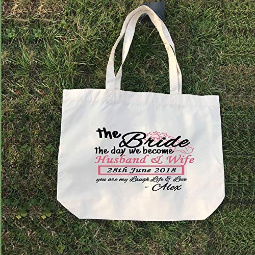 wir werden Ehemann und Frau - Paar Geschenk Tote, personalisierte Canvas Tote Bag, Hochzeitsgeschenke, Bridal Party Geschenk, Strand Hochzeit Brautjungfer Geschenke -