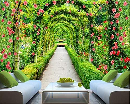 Mode High-Level verführerische Wallpaper Mural 3D Wallpaper Stereo frische natürliche grüne Promenade Blume Wandbild Hintergrund-200x140cm - Verführerisch Natürliche Licht