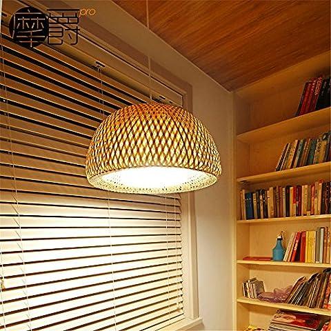 Larsure Vintage industriellen Stil Pendelleuchte Hängeleuchte im japanischen Stil Bambus im chinesischen Stil aus Holz living room Bar Restaurant Restaurant Kronleuchter einem Kopf, Durchmesser 45 * 23 cm